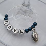 Rugby Ball Personalised Wine Glass Charm